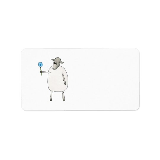 Sheep Giving a Flower. Label