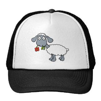 Sheep Gray White Lamb Red Flower Trucker Hat