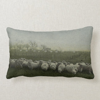 sheep grazing photo 1918 lumbar pillow