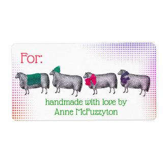 Sheep handmade knitting crochet Christmas sticker