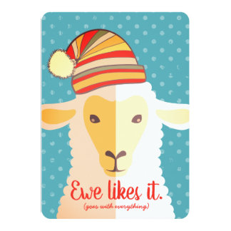 Sheep hat knitting crochet crafts Christmas card
