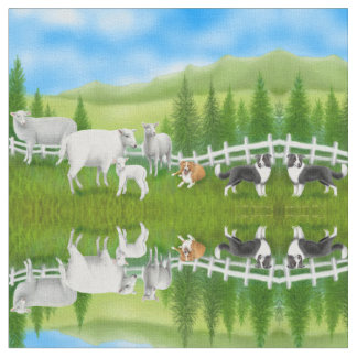 Sheep Herding Border Collie Dogs Fabric
