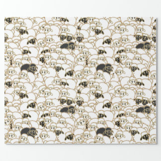 sheep, huge flock black and white wrapping paper