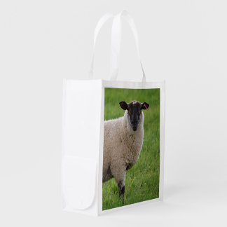 Sheep in a Grasss Field Grocery Bags