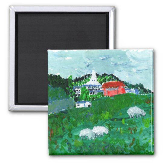 Sheep in a New England landscape magnet