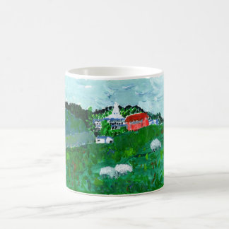 Sheep in a New England landscape mug