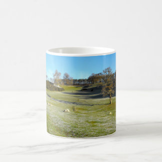 Sheep in the frosty valley classic white coffee mug