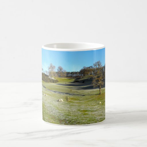 Sheep in the frosty valley coffee mug