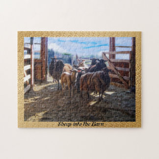 Sheep Into The Barn Jigsaw Puzzle