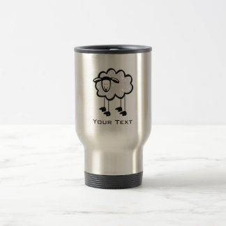 Sheep; metal-look travel mug