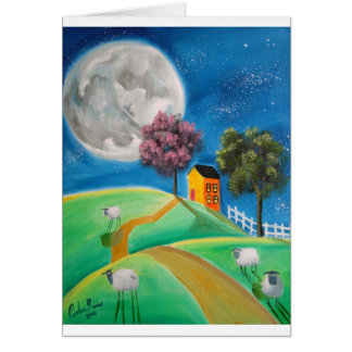 SHEEP MOON FOLK ART CARD