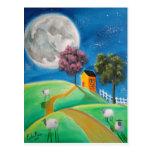 SHEEP MOON FOLK ART POSTCARD