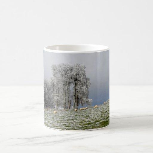 Sheep on a frosty hill coffee mug