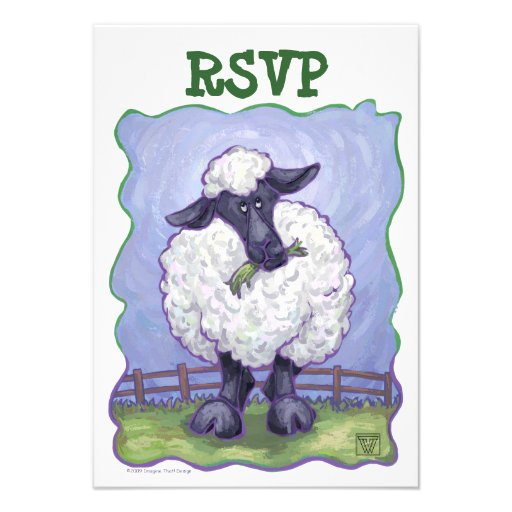 Sheep Party Center Personalized Invite