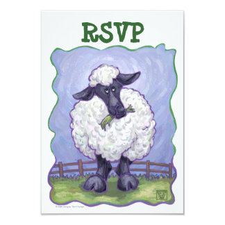 """Sheep Party Center RSVP 3.5"""" X 5"""" Invitation Card"""