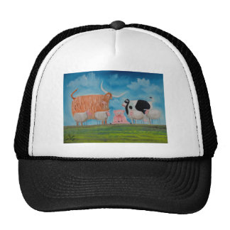 sheep pig highland cow trucker hat