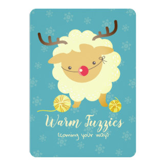 Sheep reindeer knitting crochet Christmas card