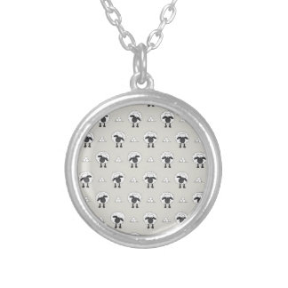 Sheep, sheep and even more sheep silver plated necklace