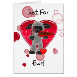 Sheep Valentine's Day Card - Just For Ewe
