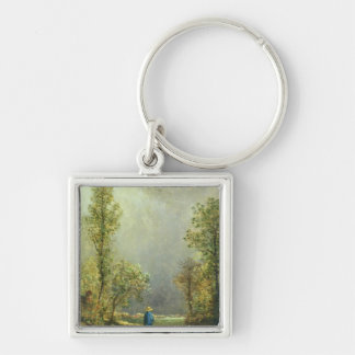 Sheep watching a Storm Silver-Colored Square Keychain