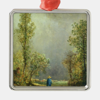Sheep watching a Storm Silver-Colored Square Ornament