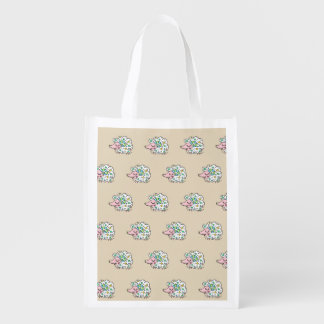Sheep (white) one side of star handle* reusable grocery bag