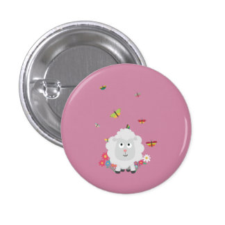 Sheep with flowers and butterflies Z1mk7 1 Inch Round Button