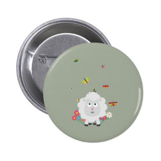 Sheep with flowers and butterflies Z1mk7 2 Inch Round Button