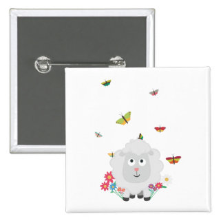 Sheep with flowers and butterflies Z1mk7 2 Inch Square Button