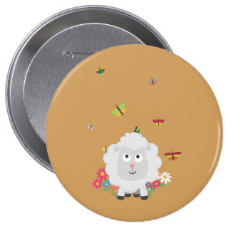 Sheep with flowers and butterflies Z1mk7 4 Inch Round Button