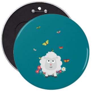 Sheep with flowers and butterflies Z1mk7 6 Inch Round Button