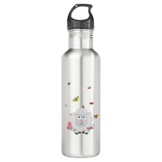 Sheep with flowers and butterflies Z1mk7 710 Ml Water Bottle
