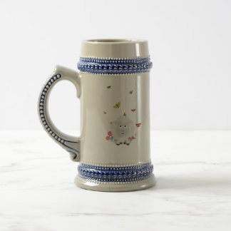 Sheep with flowers and butterflies Z1mk7 Beer Stein