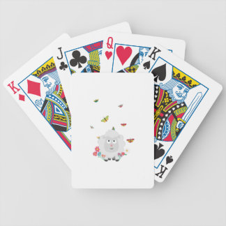 Sheep with flowers and butterflies Z1mk7 Bicycle Playing Cards