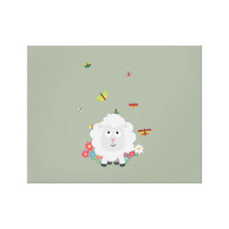 Sheep with flowers and butterflies Z1mk7 Canvas Print