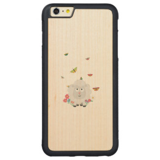 Sheep with flowers and butterflies Z1mk7 Carved® Maple iPhone 6 Plus Bumper Case