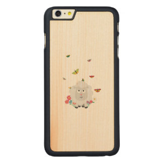 Sheep with flowers and butterflies Z1mk7 Carved® Maple iPhone 6 Plus Case