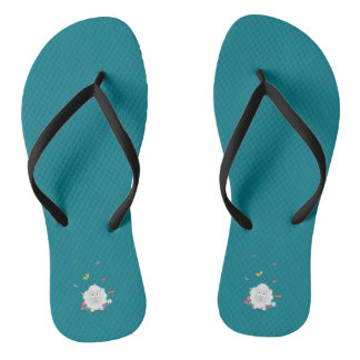 Sheep with flowers and butterflies Z1mk7 Flip Flops