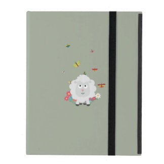 Sheep with flowers and butterflies Z1mk7 iPad Case
