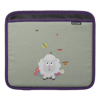 Sheep with flowers and butterflies Z1mk7 iPad Sleeve