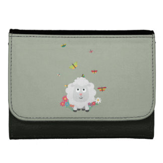 Sheep with flowers and butterflies Z1mk7 Leather Wallet