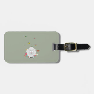 Sheep with flowers and butterflies Z1mk7 Luggage Tag
