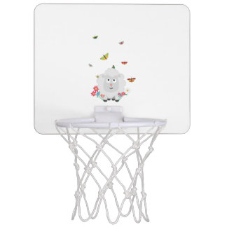 Sheep with flowers and butterflies Z1mk7 Mini Basketball Hoop