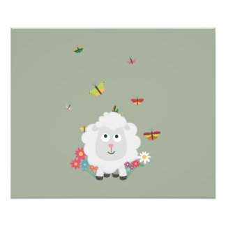 Sheep with flowers and butterflies Z1mk7 Photo Print