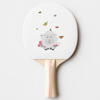 Sheep with flowers and butterflies Z1mk7 Ping Pong Paddle