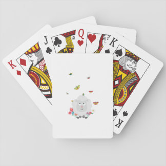 Sheep with flowers and butterflies Z1mk7 Playing Cards