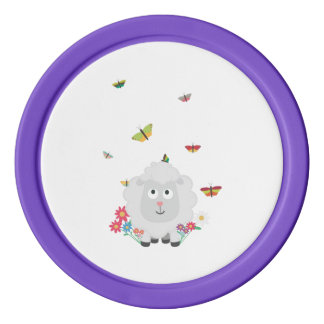 Sheep with flowers and butterflies Z1mk7 Poker Chips