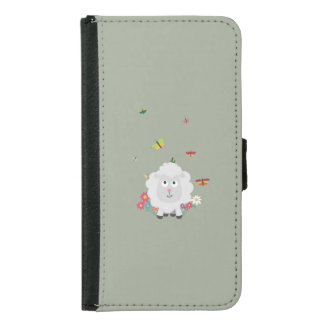 Sheep with flowers and butterflies Z1mk7 Samsung Galaxy S5 Wallet Case