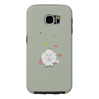 Sheep with flowers and butterflies Z1mk7 Samsung Galaxy S6 Case