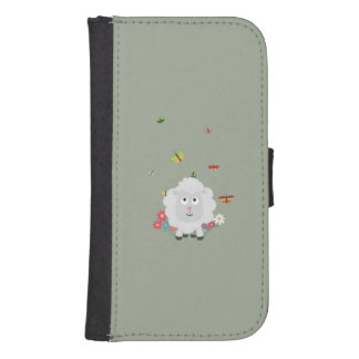 Sheep with flowers and butterflies Z1mk7 Samsung S4 Wallet Case